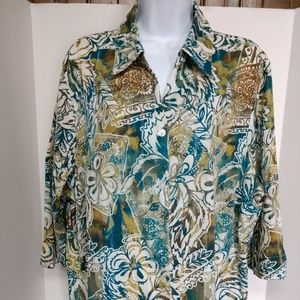 alfred dunner woman size 20w top 3/4 sleeve